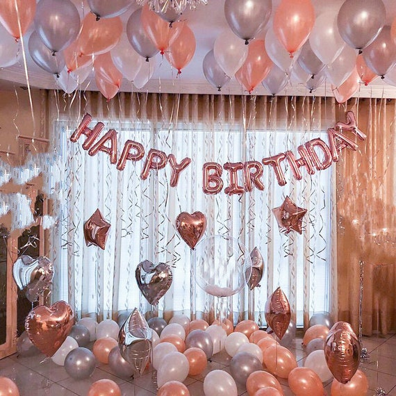 Rose Gold Happy Birthday Decoration  Rose Gold 12st Birthday Party Ideas  Decor  12th 12th Rose Gold Birthday Party Banner Sign