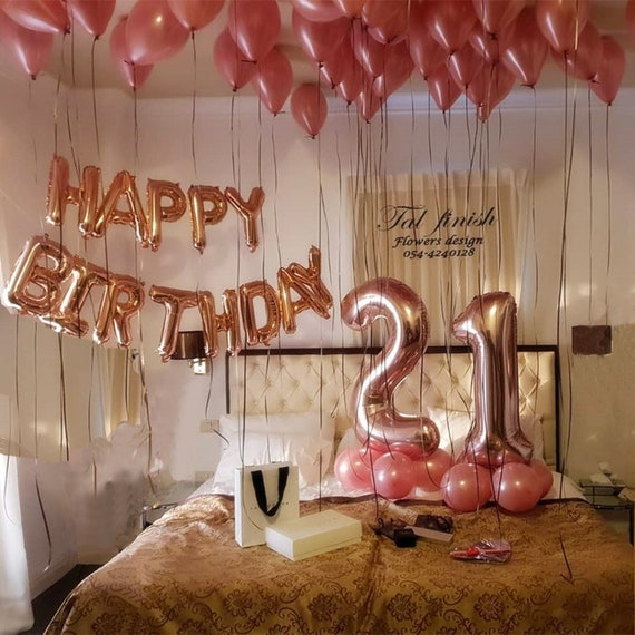 Rose Gold 21st Birthday Balloon Decor For Girls