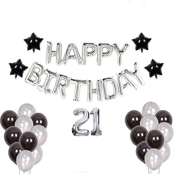 21st Birthday Decorations For Him Black And Silver Theme