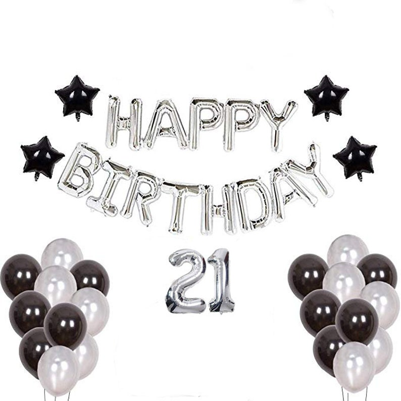 21st Birthday Decorations For Him Black Theme 21