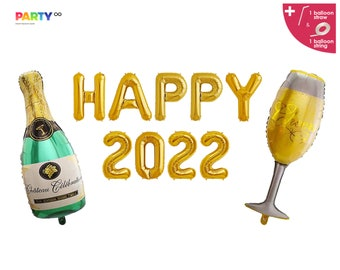 Happy 2022 Balloon Banner with Champagne Set  | 2022 Happy New Years Balloons | New Years Eve Decorations 2022 NYE Party | NYE party decor