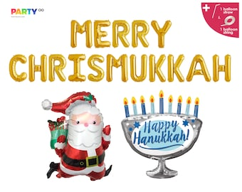 Merry Chrismukkah Balloon Banner | Christmas Hanukkah Balloons | Christmukkah Party Decor | Hanukkah Sign