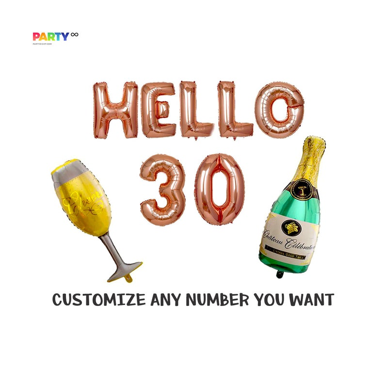 Hello 30 Rose Gold 30th Birthday Balloon Decoration Set  30th image 0