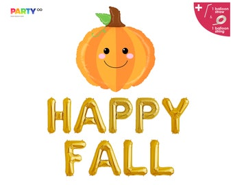 Happy Fall Banner | Fall Themed Party Decorations | Pumpkin Halloween Banner | Thanksgiving Pumpkin Themed Party