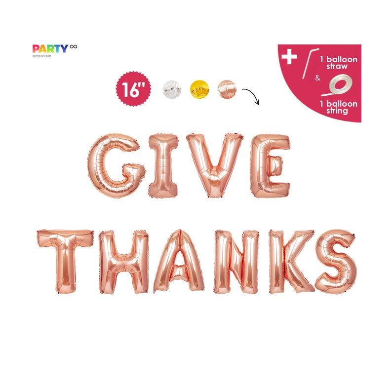 Give Thanks Balloon Banner  Thanksgiving Balloons Decorations Rose gold