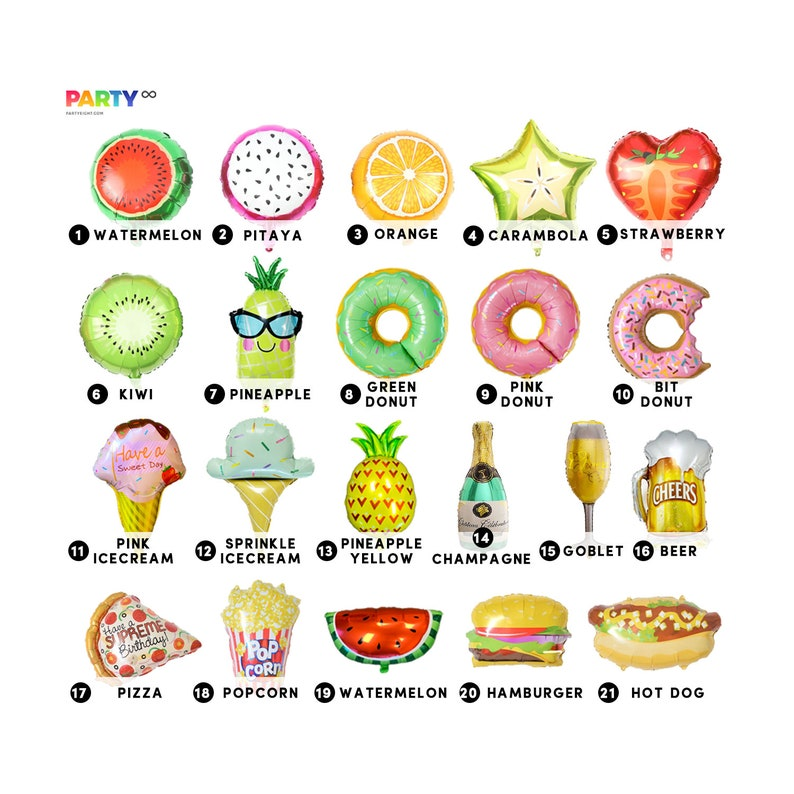 Foodie Favors  FOODIE PARTY TIME Balloon  hamburger/Ice image 0