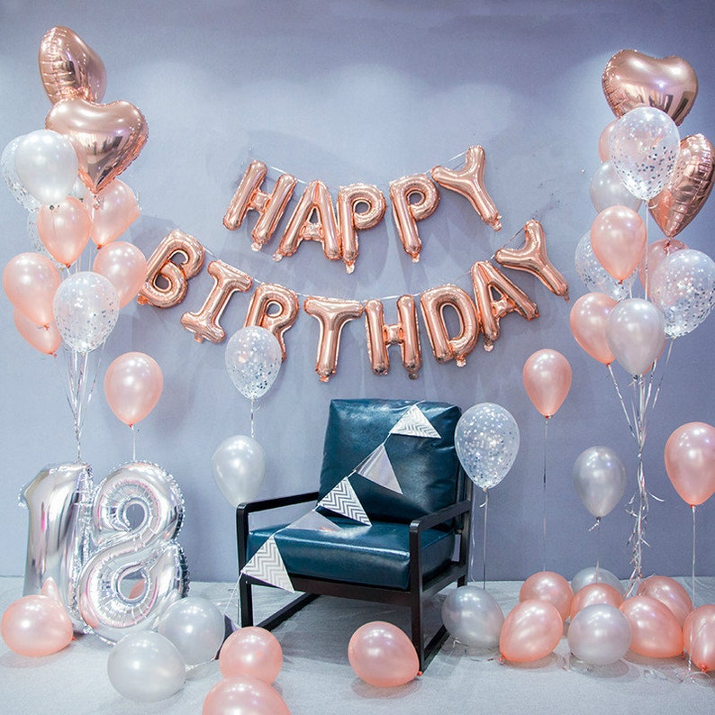 Rose Gold Happy Birthday Decoration Set 18th Party