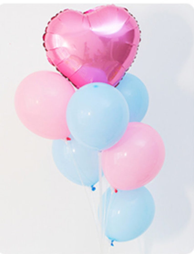 Pink And Blue Heart Balloon Bouquet Party Decoration