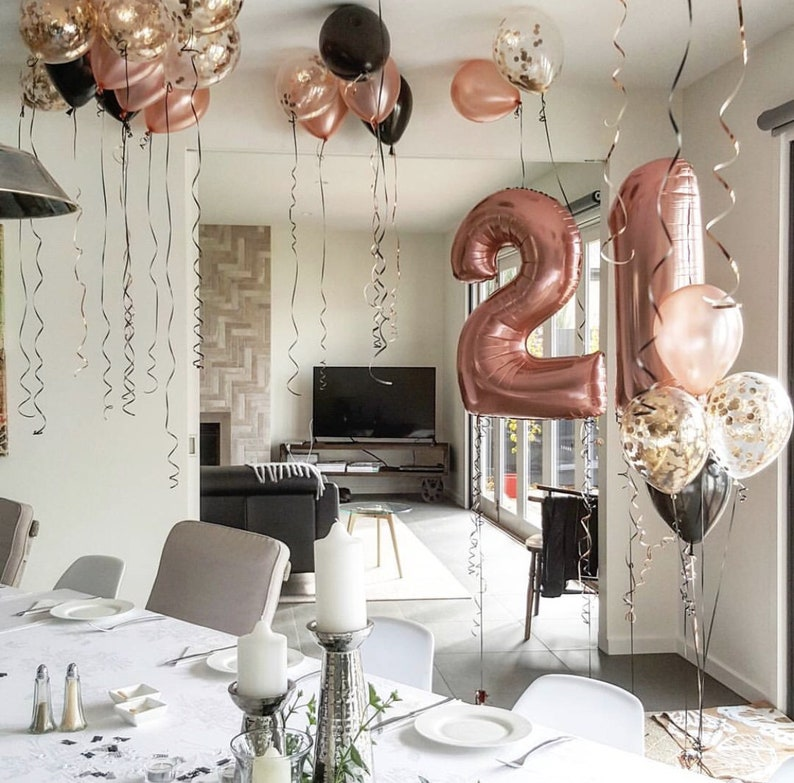 Rose Gold 21st Birthday Decor Set Jumbo 21 Big Number