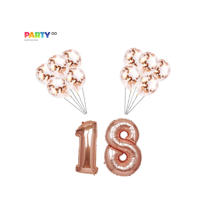 18th Birthday Decorations Rose Gold Confetti Decoration Set