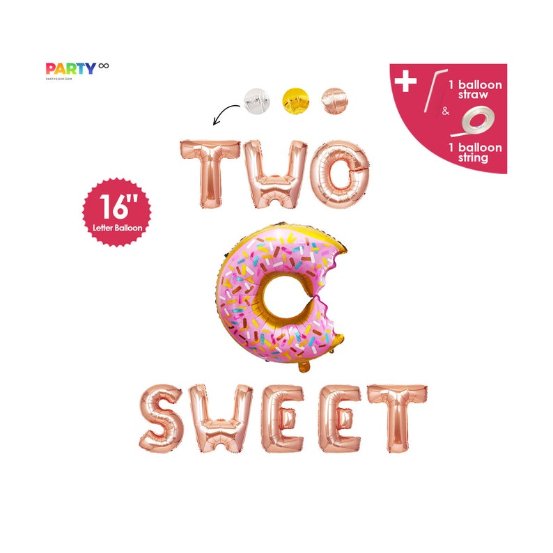 Two Sweet Balloons Donut  Birthday Decor 2nd Birthday Party Rose Gold
