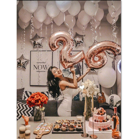 Rose Gold Birthday Number Balloon With White Balloons