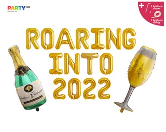 Roaring Into 2022 Balloon Banner  | 2022 Happy New Years Balloons | New Years Eve Decorations 2022 NYE Party | NYE party decor