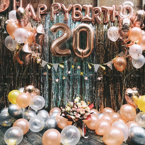 Rose Gold 20th Birthday Balloon Decoration Set