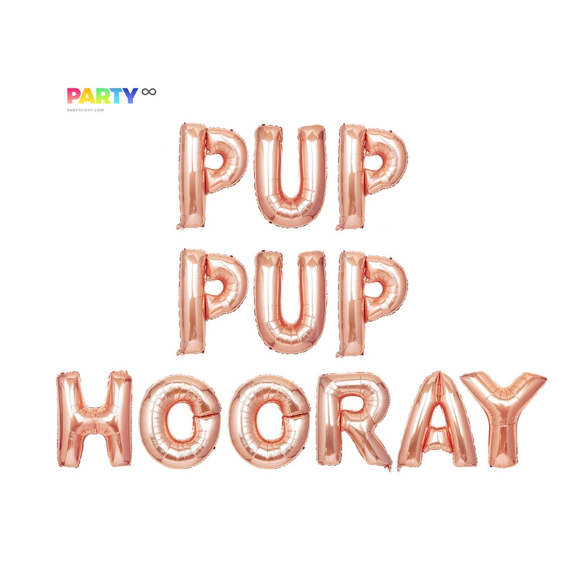 Pup Hooray Puppy Birthday Party Decoration  Puppy Dog Rose gold