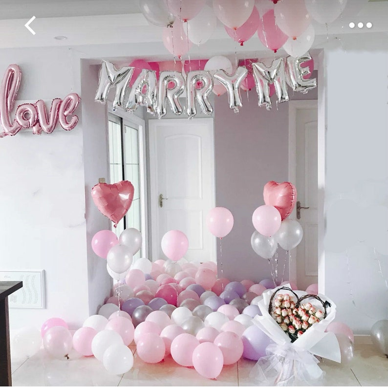 Marriage Proposal Decorations Balloons Silver Marry Me
