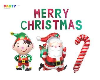 Merry Christmas Banner | Friendsmas Decor | Merry Christmas Balloons | Christmas Party Decorations | Elf Santa Balloons