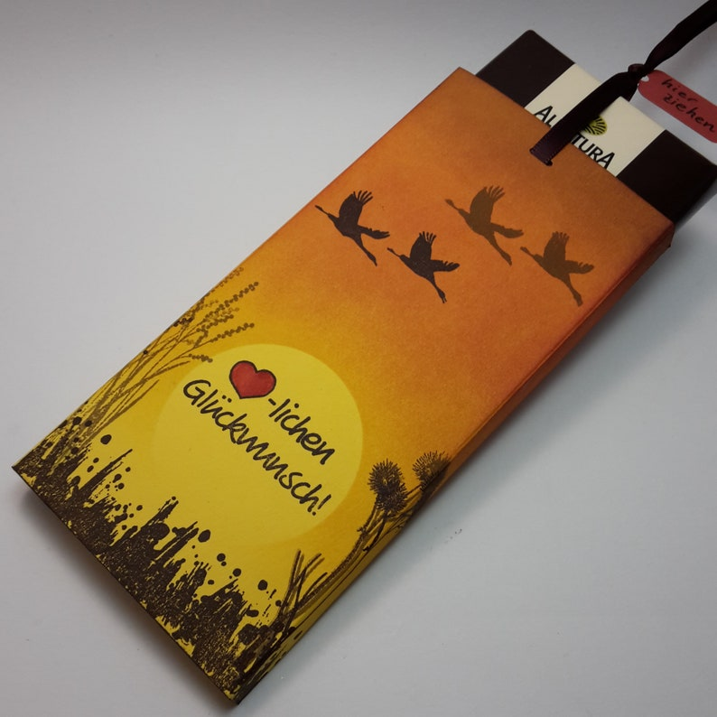 Packaging for money or voucher gift with chocolate/cash gift Sonnenuntergang