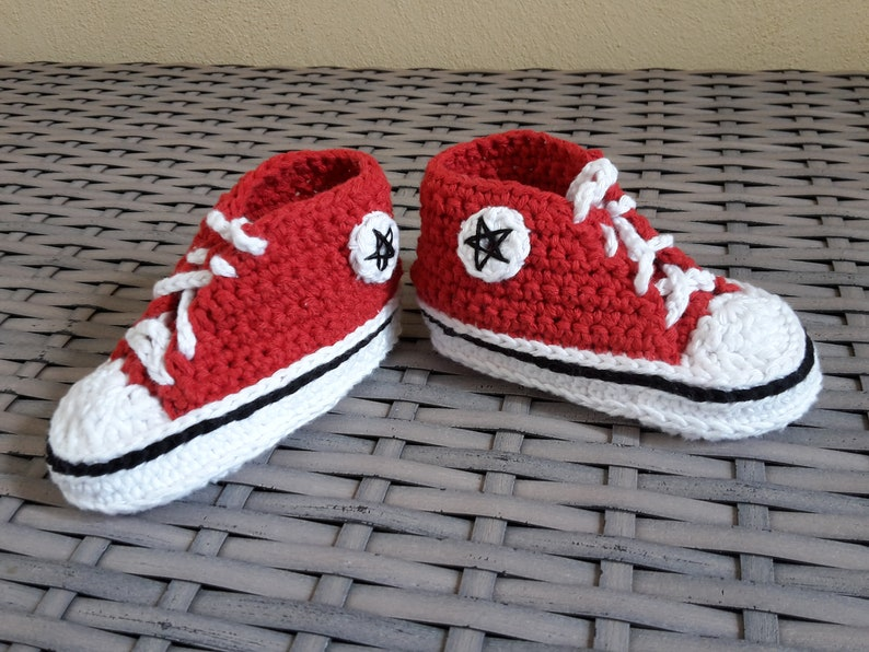 Crochet baby sneakers  red  about 5-6 months image 0
