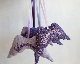 Lavender wings - Lavender bags embroidered for hanging - Fragrance bags - Lavender pillows
