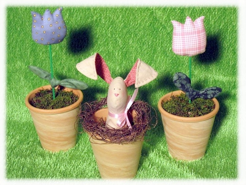 Pot Hare Set-Cute Easter Deco image 0