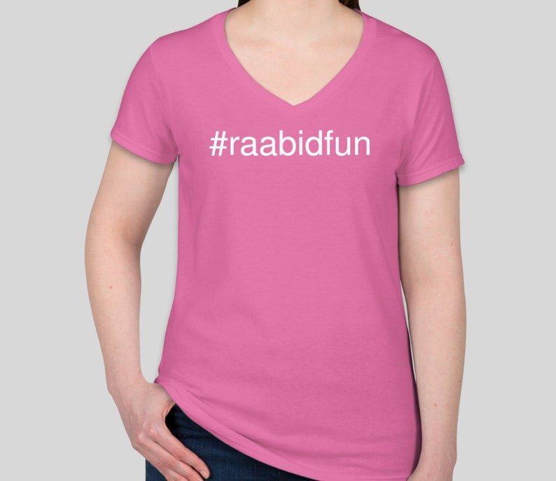 raabidfun women's short-sleeve T-shirt V neck Azalea