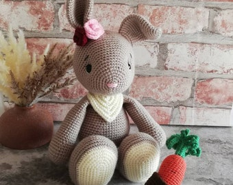 Bunny Lou Crochet Cuddly Toy Handmade with Love Beautiful Gift for Birthday,Baby Party,Baptism or any further occasion