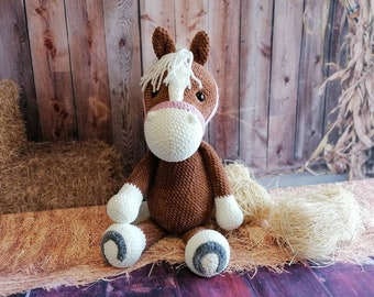 Horse Monty Crochet Cuddly Toy Handmade with Love Beautiful Gift for Birthday, Baby Party, Baptism and More Occasions