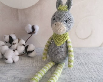 Donkey Paco and Donkey Rita Crochet Cuddly Toy Handmade with Love Beautiful Gift for Birthday,Baby Party,Baptism and Other Occasions