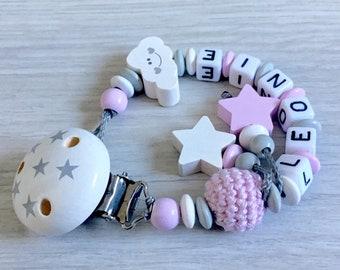 Bastelset für Schnullerketten rosa-mint-grau-weiß mit Bärchen Fuchs Stern