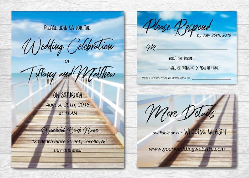 Wedding Invitation - Custom Printable Set - Beach Boardwalk Theme with  Brush Script - Informal Fun Rust Destination Nautical Wedding