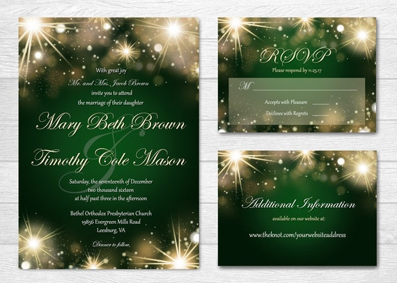 Wedding Invitation Custom Printable Set Stars And Lights On Emerald Green Background Festive Holiday Elegant Formal Evening Wedding