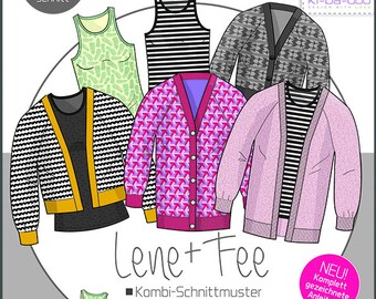 Top & Cardigan FEE/LENE Women's size 32-54 - DIN A0 sewing pattern and instructions as brochure, Ki-ba-doo, paper sewing pattern