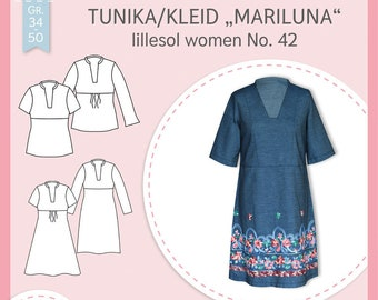 Paper sewing pattern lillesol women No.42 tunic/dress Mariluna * with video sewing guide *, size 34-50