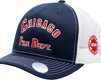 40f2d2cdab4 Chicago Fire Department Snapback Trucker Mesh Arched Logo W Side Logo As  Seen On TV