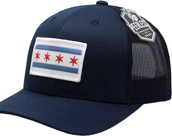 69869ddda4323 Chicago Flag Snapback Trucker Mesh Navy Navy White Border