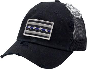 Blue Line Chicago Flag Snapback Trucker Distressed Vintage Mesh 7e7ae4ac7431