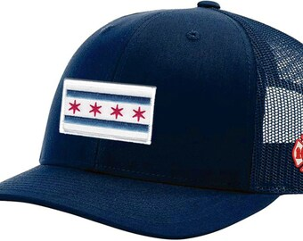 9b1d0df075e707 Chicago Flag Patch on Navy/Navy Trucker Mesh With Embroidered CFD Maltese  Logo On Left Side One Size