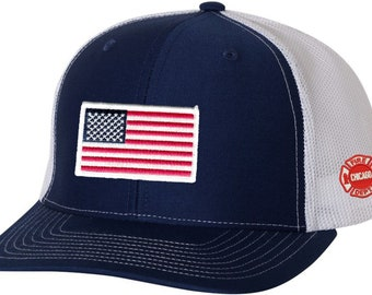 2783b22d5d498c American Flag Patch on Navy/White Trucker Mesh With Embroidered CFD Maltese  Logo On Left Side One Size