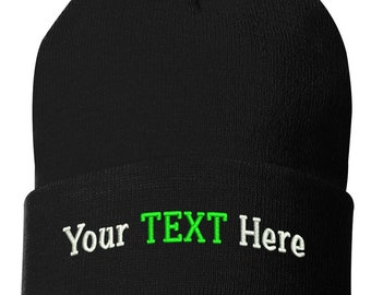 Cuff Knit Hat With Custom Embroidery Your Text Here One Size 784dcb84a01f