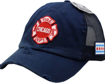 c995a9fe120 As Seen on TV Chicago Fire Department Distressed Truck Mesh Slouch Cap With  Maltese Patch One Size