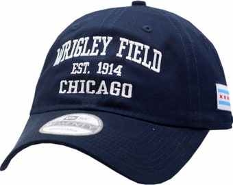 bcb22479 Chicago Wrigley Field Est 1914 Navy Cap with Adjustable Strap New Era Hat  One Size