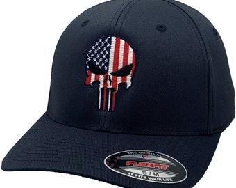 American Flag Skull Flex Fit Hat Navy
