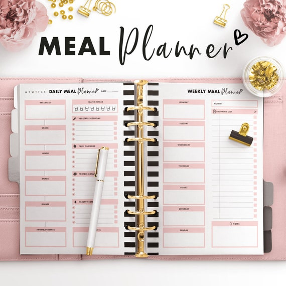 weekly meal planner a2 meal plan meal organizer weekly meal etsy