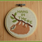 Hang in There Sloth Cross Stitch Pattern ~ Sloth Counted Cross Stitch ~ Animal Cross Stitch ~ Sloth Pattern ~ Instant Download PDF Chart