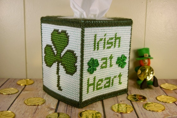 Irish at Heart Tissue Box Cover Plastic Canvas Pattern