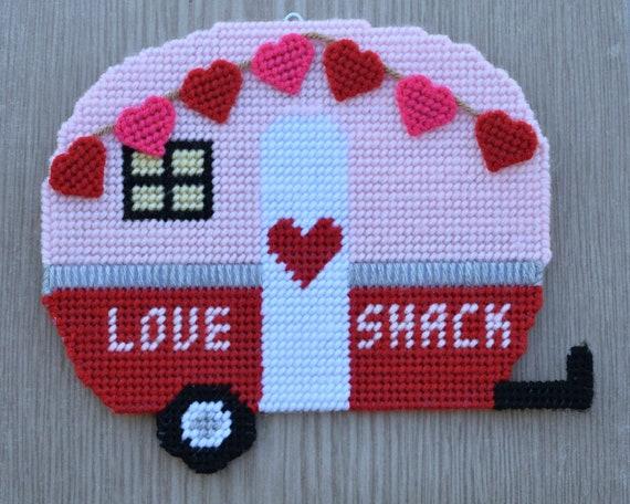 Love Shack Retro Camper Plastic Canvas Pattern For Valentines Etsy