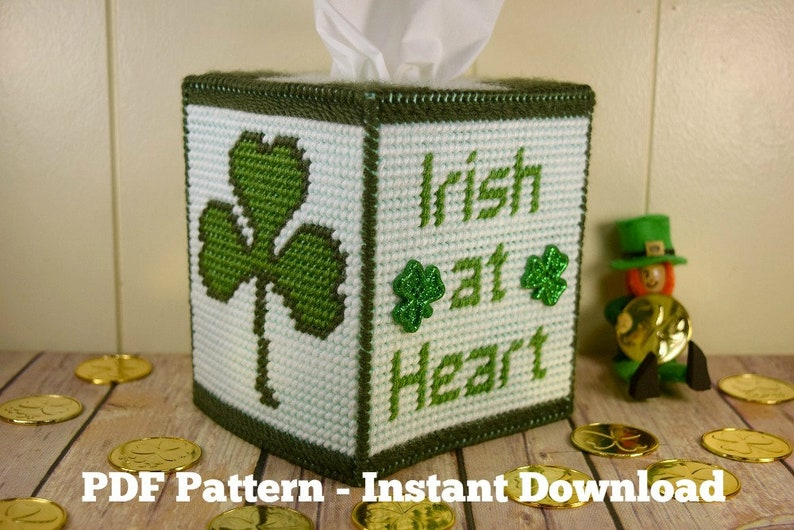 Irish at Heart Tissue Box Cover Plastic Canvas Pattern St image 0