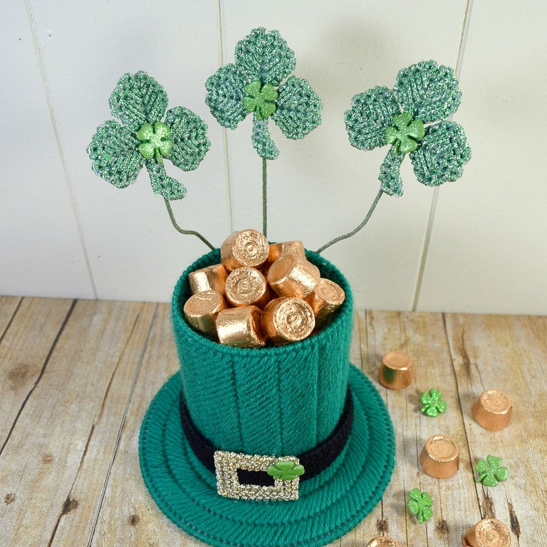 Leprechaun Hat Candy Dish Centerpiece Plastic Canvas Pattern
