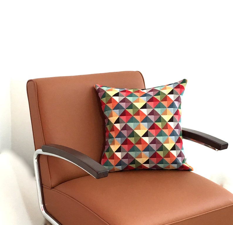 Cushion Colorful Triangle Geometric Tapestry Upholstery fabric image 0